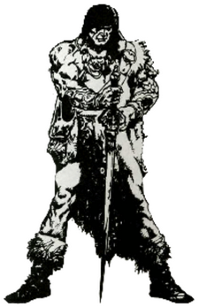 Conan the Barbarian image that first appeared in magazine ads for Hyborian War in the 1980s.