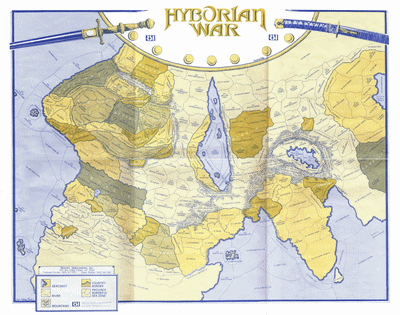 The Hyborian War wall map that players use to play the game with.